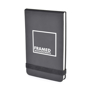Parsonage jotter in black with colour match elastic closure strap and 1 colour print
