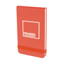 Parsonage jotter in red with colour match elastic closure strap and 1 colour print