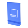 Parsonage jotter in blue with colour match elastic closure strap and 1 colour print