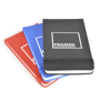 Parsonage jotter in black, blue and red with colour match elastic closure strap and 1 colour print