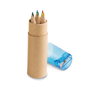 cardboard tube with 6 coloured pencils and blue sharpener top