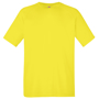 Performance Tee in green with crew neck in yellow