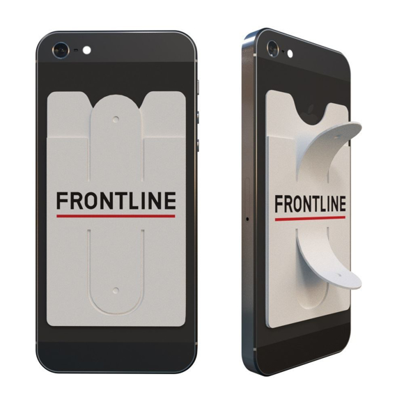 Phone Stand & Card Holder in white with 2 colour print logo