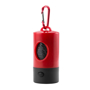 red poop bag holder and torch