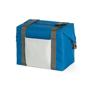 Blue cooler bag folded into a rectangular cool bag