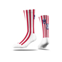 Premium Full Sub Socks  in white with red stripes and 3 colour print logo
