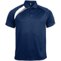 Proact Polo Shirt in navy with white and grey contrast panels, collar and 2 buttons