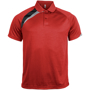 Proact Polo Shirt in red with black and grey contrast panels, collar and 2 buttons