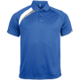 Proact Polo Shirt in blue with white and grey contrast panels, collar and 2 buttons