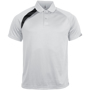 Proact Polo Shirt in white with black and grey contrast panels, collar and 2 buttons