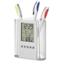 Pen holder pot and digital clock and date, temperature gauge.