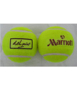 2 yellow tennis balls with different branding