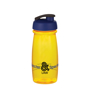 600ml translucent yellow bottle with navy flip lid and logo printed on the front