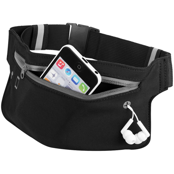 Ranstrong Adjustable Waist Band in black showing front pocket and earphone port