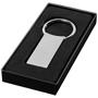 silver rectangular keyring in black gift box