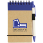 Recycled Jotter with wire binding, black elastic closure strap, coloured trim and colour match pen and 3 colour logo