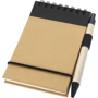 Recycled Jotter with wire binding, black elastic closure strap, black coloured trim and colour match pen