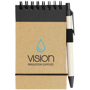 Recycled Jotter with wire binding, black elastic closure strap, black coloured trim and colour match pen and 2 colour logo