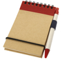 Recycled Jotter with wire binding, black elastic closure strap, red coloured trim and colour match pen