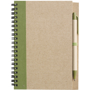Recycled Notepad and Pen with green trim and colour match pen