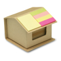 House shaped cardboard box in recycled material, containing recycled paper and colourful memo stickers on roof