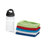 clear sports bottle next to a folded gym towels in a range of colours