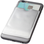 RFID Smartphone Wallet on back of phone in silver