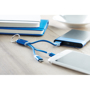 Rizo Charger Cable multi charger in blue and white with 3 output options connected to devices