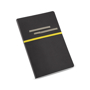 Imitation leather roots notebook in black with grey elastic straps for pens and business cards and yellow coloured elastic closure strap