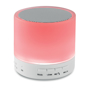 white round bluetooth speaker with red lightup base
