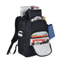 """Rutter 17"""" Computer Backpack in black showing all compartments"""