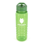 Transparent green bottle with white corporate logo
