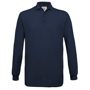 Safran Long Sleeve Polo in navy with collar and 3 buttons
