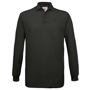 Safran Long Sleeve Polo in black with collar and 3 buttons