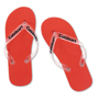 Salti Flip Flops in red with clear straps and 1 colour print