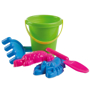 Sandy green bucket with pink and blue tools