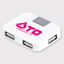 White rectangular usb hub with company logo printed onto the front in one colour