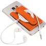 Silicone Phone Wallet With Stand in orange with earphones wrapped around