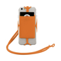Silicone RFID Card Holder with lanyard in orange with phone in close up