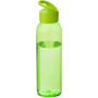 Translucent green sports bottle with lid and solid carry loop