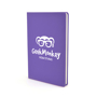 A5 slimline PU notebook in purple with 1 colour white print logo