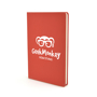 A5 slimline PU notebook in red with 1 colour white print logo