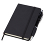 Small noir notebook with black ribbon, elasticated closure strap and pen loop with black pen