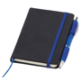 Small noir notebook with blue ribbon, elasticated closure strap and pen loop with blue pen