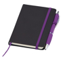 Small noir notebook with purple ribbon, elasticated closure strap and pen loop with purple pen
