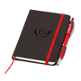 Small noir notebook with red ribbon, elasticated closure strap and pen loop with red pen