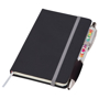 Small noir notebook with silver ribbon, elasticated closure strap and pen loop with silver pen