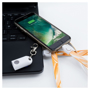 Smart 2-in-1 Lanyard in full colour print connecting a laptop and mobile phone