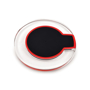 clear wireless charging pad with black and red centre