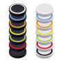 White and black round charging pads in a range of different colour trims